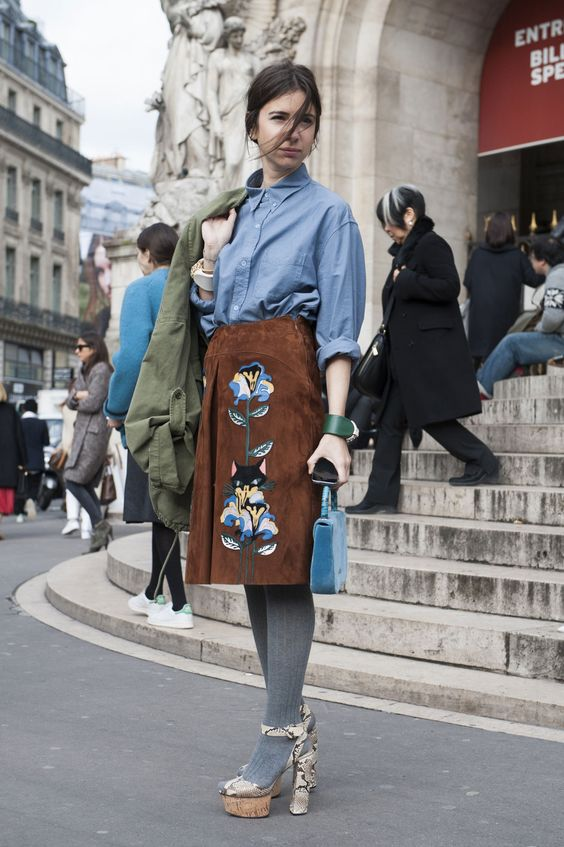 Natasha Goldenberg in a suede Miu Miu skirt. #PFW