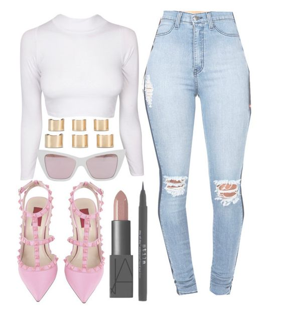 """"""""""" by wtfsabrina on Polyvore featuring Valentino, NARS Cosmetics, Quay, Stila, Maison Margiela, women's clothing, women, female, woman and misses"""