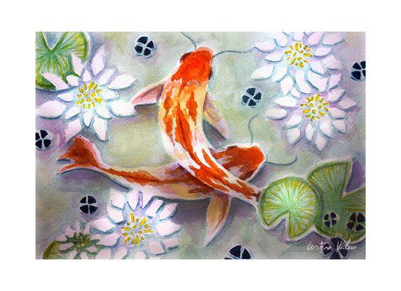 Acuarela estanque japon s con peces koi y nen fares mis for Estanque japones