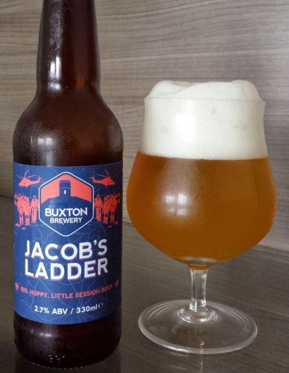 Cerveja Jacob's Ladder, estilo American Pale Ale, produzida por Buxton Brewery, Inglaterra. 2.7% ABV de álcool.