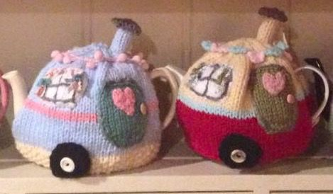 A Rosylea design, hand knitted in North Yorkshire. 4-6 cup tea cosy £23 each which includes recorded delivery p&p. www.facebook.com/RosyleaVintageHome: