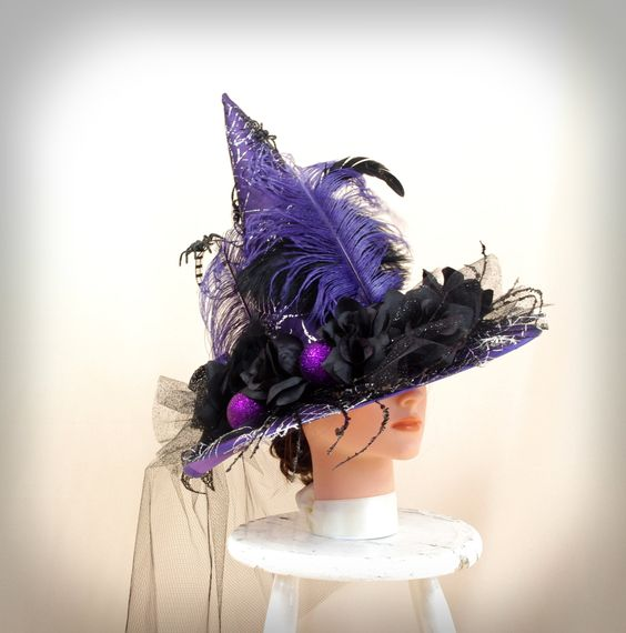Purple and Black Witch Hat * Black and Purple Witch Hat * Halloween Decor * Wicked Witch Hat * Purple Hat * Elegant Witch Hat by englishrosedesignsoh on Etsy