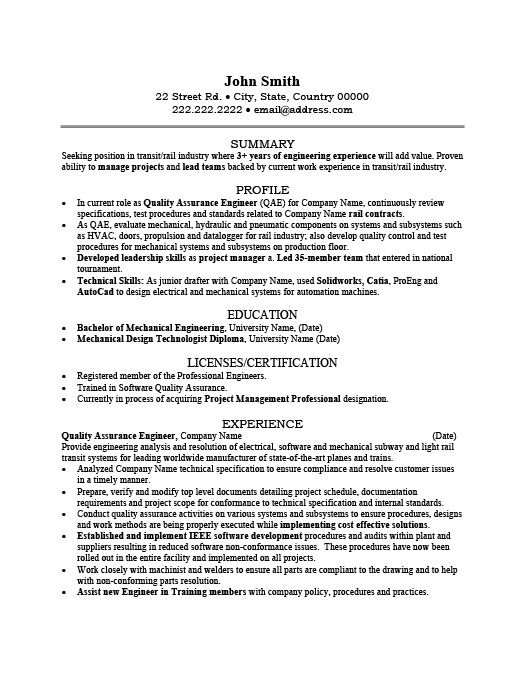 Resume Format Quality Engineer Resume Format Engineering Resume Mechanical Engineer Resume Job Resume Examples