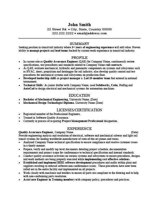 Resume Format Quality Engineer Resume Format Engineering Resume Mechanical Engineer Resume Resume Design Template