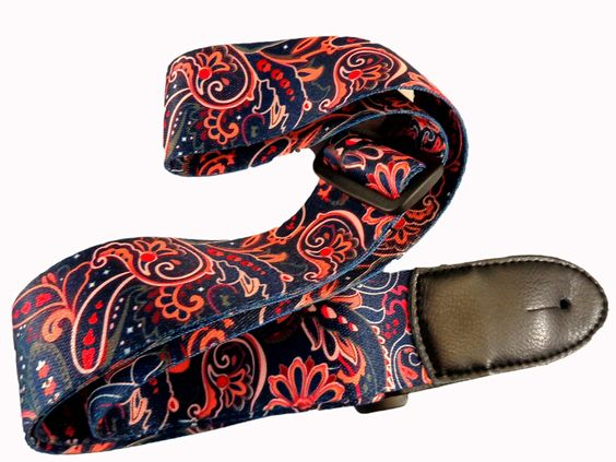 Amazon.com: New Blue Paisley Retro Vintage Hippie Acoustic Electric Guitar Strap…: