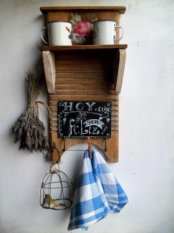 Tabla de lavar con pizarra - Reciclar muebles viejos ...