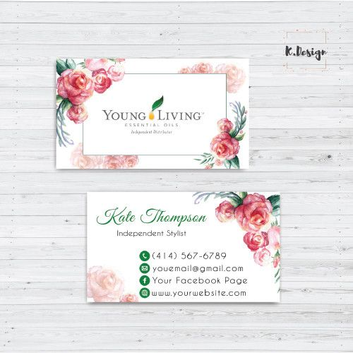Printable Essential Oils Busines Card Young Living Business Card Yl09 In 2020 Watercolor Business Cards Young Living Business Cards Young Living Business