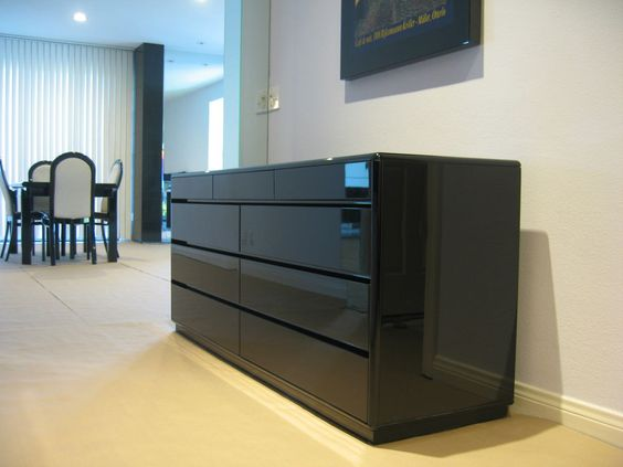 ITALIAN BLACK LACQUER DRESSER DINING BUFFET ENTERTAINMENT CENTER WRITING  TABLE #ItalianBlackLacquer #ModernContemporary