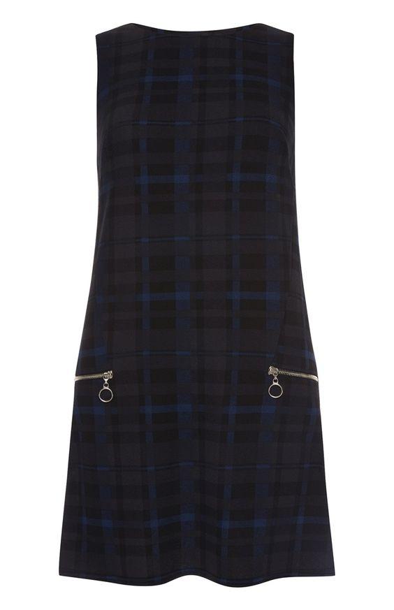 Primark - Marineblau kariertes Kleid mit Taschen