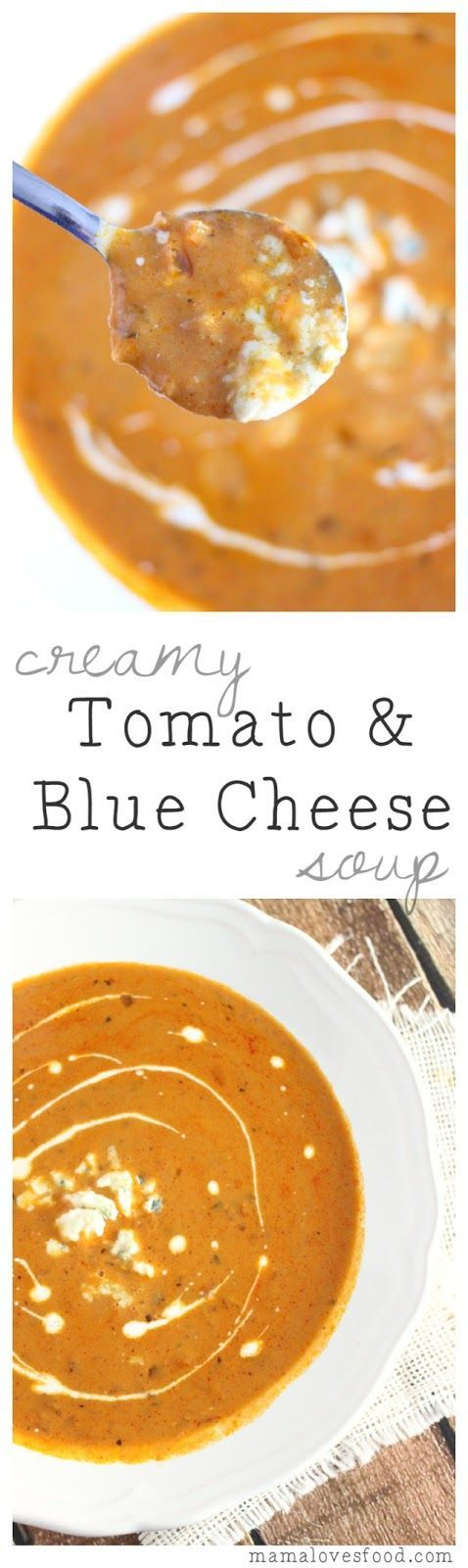 Creamy Tomato and Blue Cheese Soup - you'll be addicted to this soup as soon as you taste it.  SO delicious!