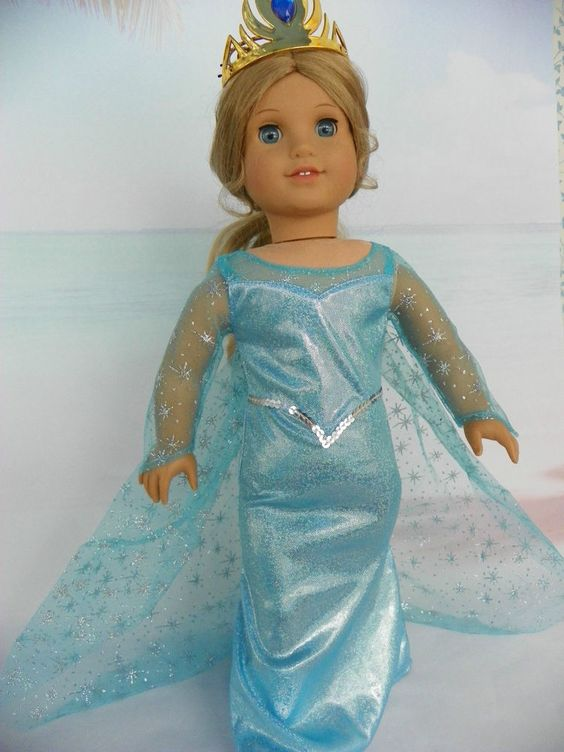"Frozen Elsa Gown with Tiara & Detachable Cape fits American Girl & 18"" Dolls #GENERICDOLLCLOTHESSTORE"