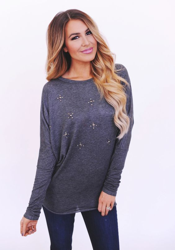 Charcoal Jeweled Long Sleeve Dolman - Dottie Couture Boutique