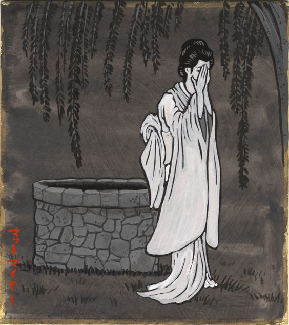 "Today's character comes from another very very famous kaidan ghost story called Bancho Sarayashiki, or ""The Dish Mansion at Bancho."" Her name is Okiku, and she is one of the most famous ghosts in Japanese folklore. Her story has been adapted into puppet theater, kabuki, movies, ukiyo-e and every other imaginable art form. Her story takes place in the area of Bancho, in present-day Hyogo prefecture, but it has been adapted to other locations, and tweaked, and changed, so there are a number…"