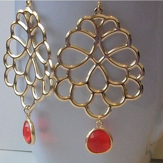 Red Gold Dangle Earrings by PeriniDesigns on Etsy via Polyvore