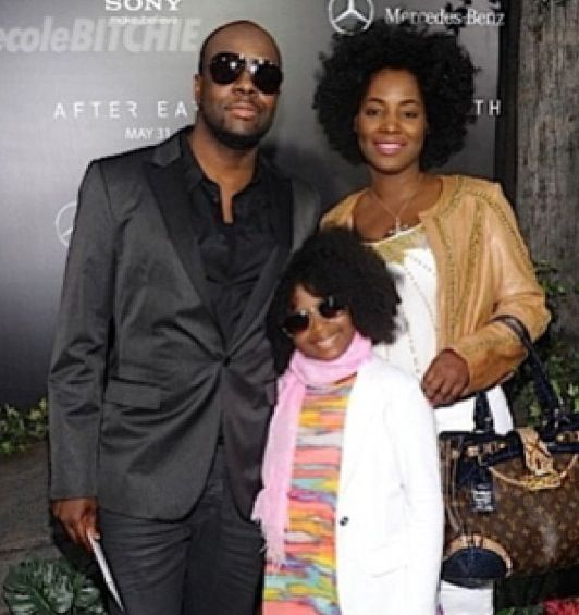 wyclef jean with wife and daughter at the after earth