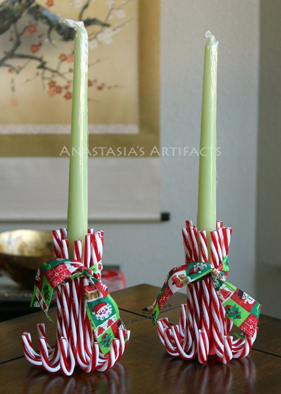 Pair reusable candy cane candle holders vintage christmas for Christmas candle displays