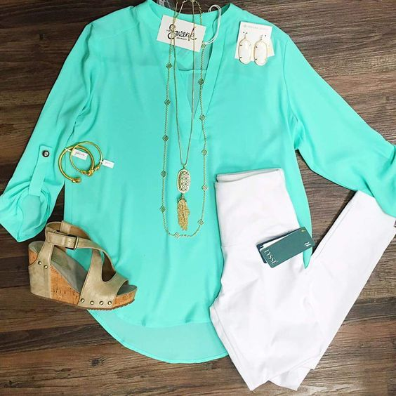 Like the layered necklace and a pair of white pants.