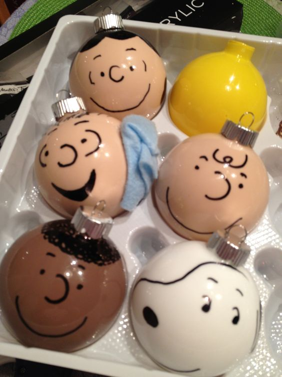 Peanut Character Ornaments Buy clear glass ornaments, acrylic paint thin enough to pour into ball and coat, black sharpie for outside. NOTE: If you make a mistake drawing nail polish remover will take it right off and you can start again.: