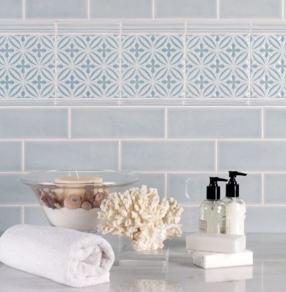 Tile Tuesday Top Sail By Adex Usa Brings The Delightful Tranquil Feeling Of The Ocean Home In A High Gloss Cr Glazed Walls Blue Tile Wall Subway Tile Design
