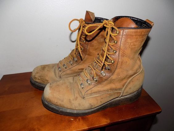 USA RED WING WELL WORN STEEL TOE COAL MINERS BOOTS. 11 D LOTS OF ...