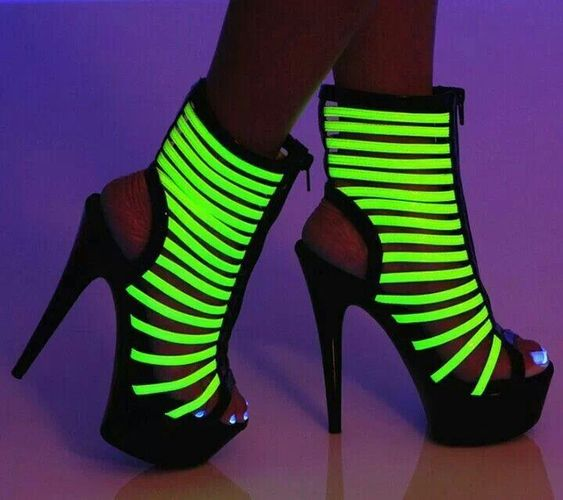 Neon Green Glow in the dark heels | hairstyles  make up  nails