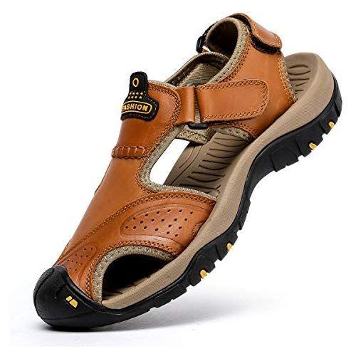 Men Flats Leather Summer Closed Toe Beach Shoes Fisherman Sport Sandals Beach SZ
