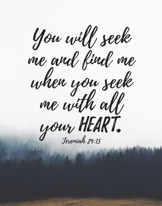 Seek me with all your heart - Jeremiah 29:13:
