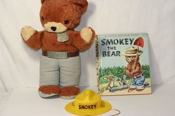 """Vintage 1950's Ideal 14"""" Smokey The Bear Stuffed Plush Doll With Book #Ideal"""