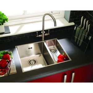 wickes 1 1 2 bowl flush inset kitchen sink stainless steel. Black Bedroom Furniture Sets. Home Design Ideas