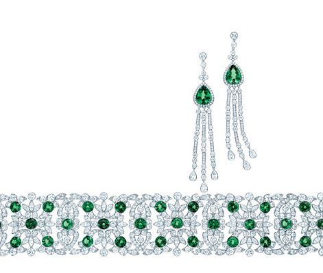 Tiffany earrings with tsavorites and round and pear-shaped diamonds and a bracelet of round tsavorites, round and marquise diamonds in platinum, from the 2013 Blue Book Collection.