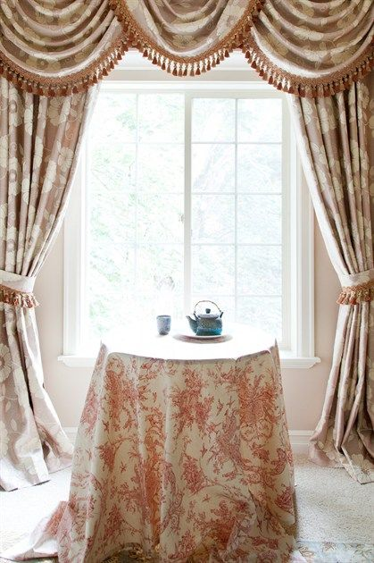 how to put up swags and tails curtains