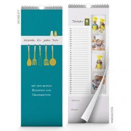 Küchenkalender im kulinarischen Design.  Ideales Weihnachtsgeschenk für alle, die gerne kochen. Personalisierbar mit eigenen Fotos