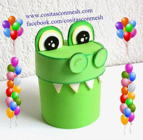 Manualidades dulcero cocodrilo reciclaje : cositasconmesh