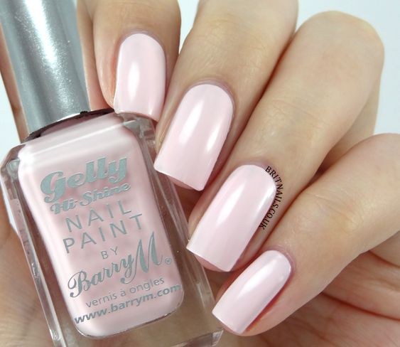 Barry M Gelly 'Rosehip' ~  pale sugary pink ~ 3 coats super formula ~ streak free glossy finish ~ swatch by Brit Nails
