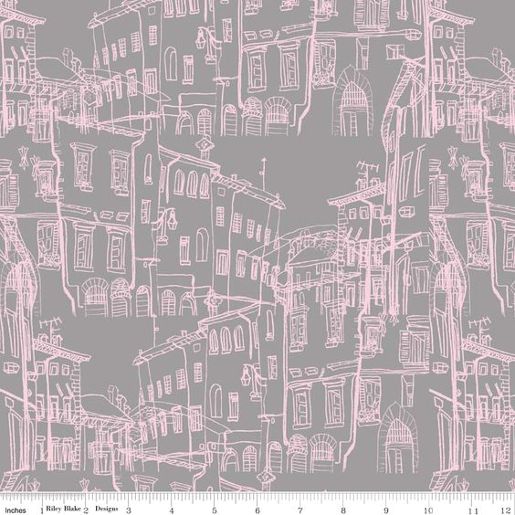 Riley Blake - Pepe in Paris - Buildings (Grey) Fabric