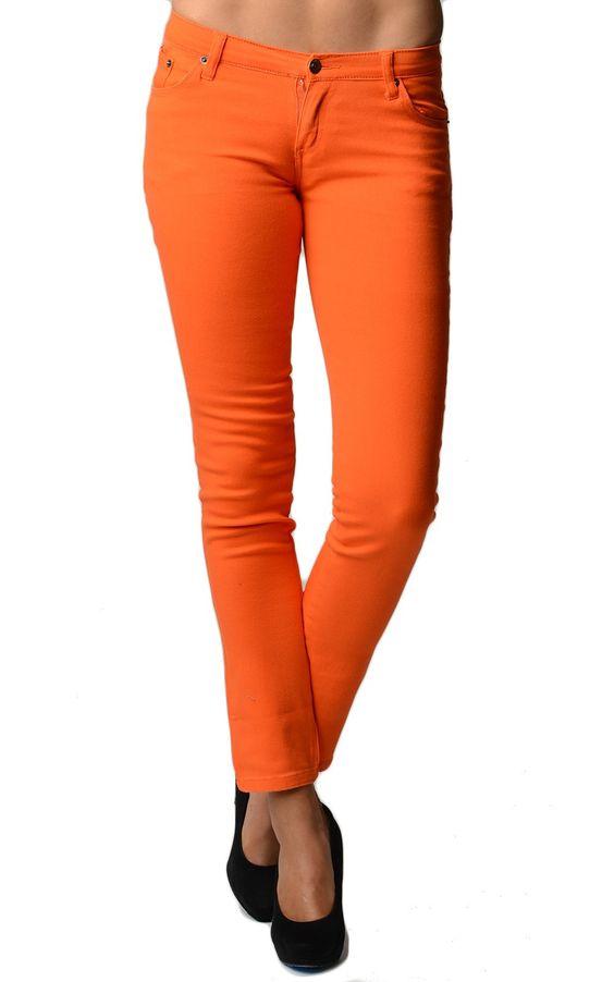 Orange Color Denim Skinny Jeans