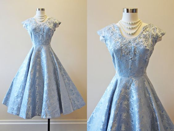 R E S E R V E D 50s Dress - Vintage 1950s Dress - Ice Blue Satin Novelty Wedding Party Dress w Jewels L - A Cinderella Story