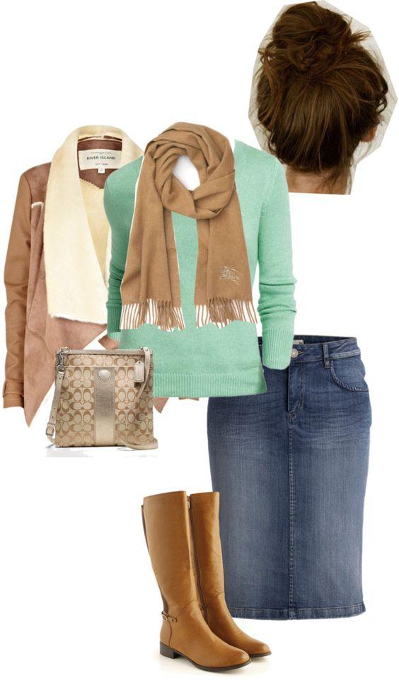 saia de ganga comprida, casaco de qualqur cor, e cachecol ou gola da cor das botas e da mala