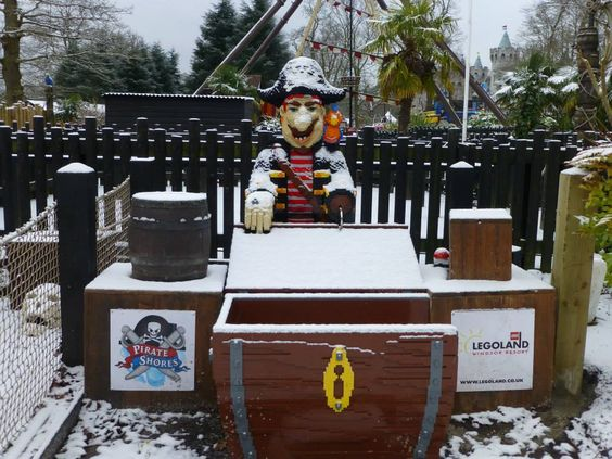 A LEGO pirate in the snow at the LEGOLAND Windsor Resort