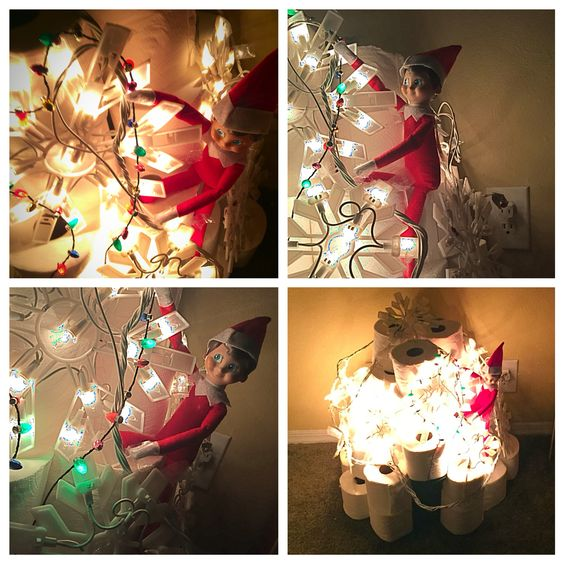 Peppytoots decorated his toilet paper igloo with lights