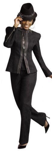 Novelty Black Denim Pant Suit Set from DV Jeans with Zipper Accents 8388 Donna Vinci Jeans. $179.00