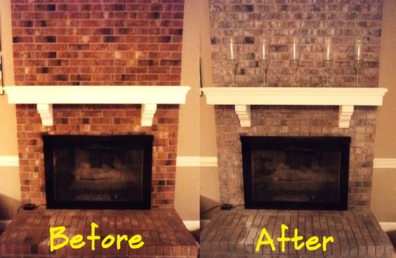 DIY Update Your Red Brick Fireplace White Wash Your Brick