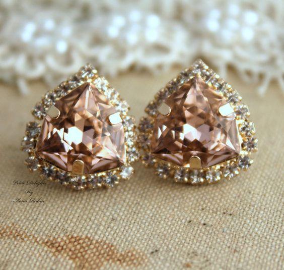 Rhinestone Crystal Vintage Pink stud earring by iloniti on Etsy