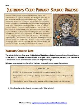 Justinian's Code Primary Source Analysis   Primary Sources ...