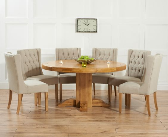 Torino 150cm Solid Oak Round Dining Pedestal Table With Safia Fabric Chairs
