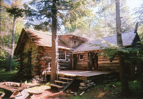 log cabin in the mountains.