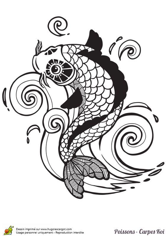Une carpe qui saute hors de l 39 eau dessin colorier for Koi qui saute hors de l eau