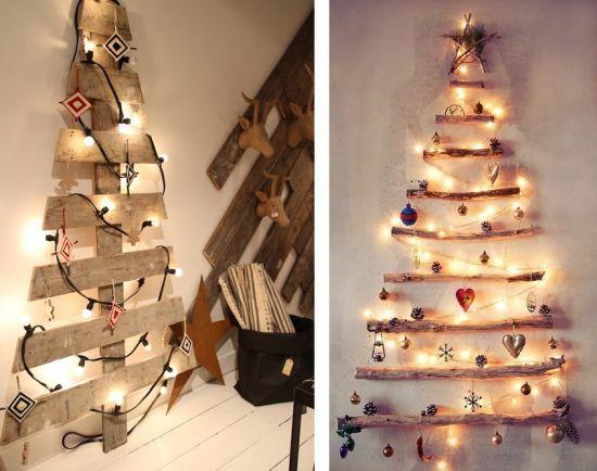 DIY sapin de Noël en bois palette branche à faire soi même guirlande