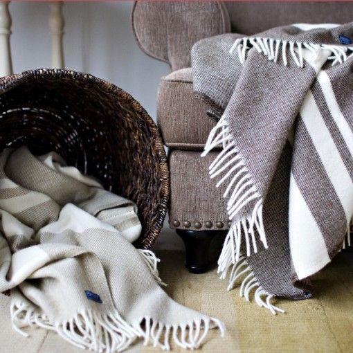 classic striped wool throw (faribault woolen mill in MN)