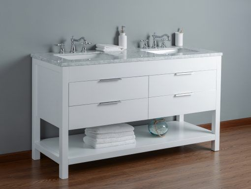 60 Inch White Double Sink Bathroom Vanity With Marble Top And